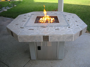 tile top fire table with fireglass
